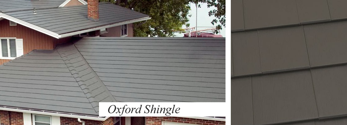 Shingles/Slatelate style roofing in metal