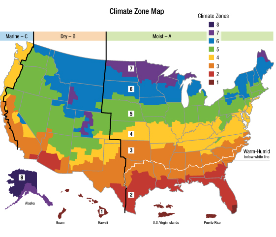 Climate Zone Map from the EPA