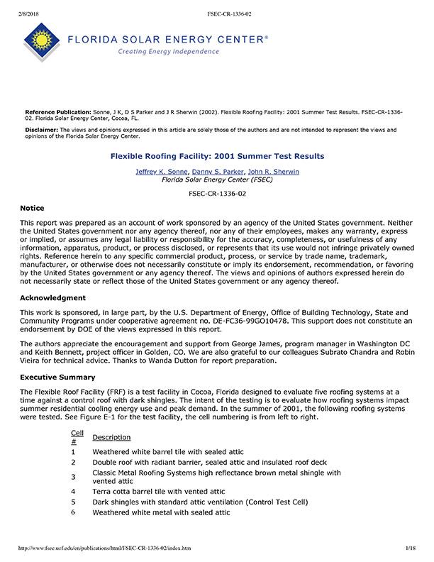Florida Solar Energy Center (FSEC) - Summer Test Results 2001