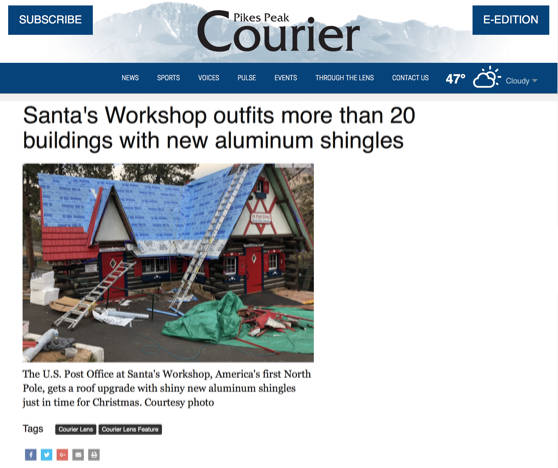Santa's Workshop outfits buildings with new aluminum shingles | Pikes Peak Courier - Dec 2018