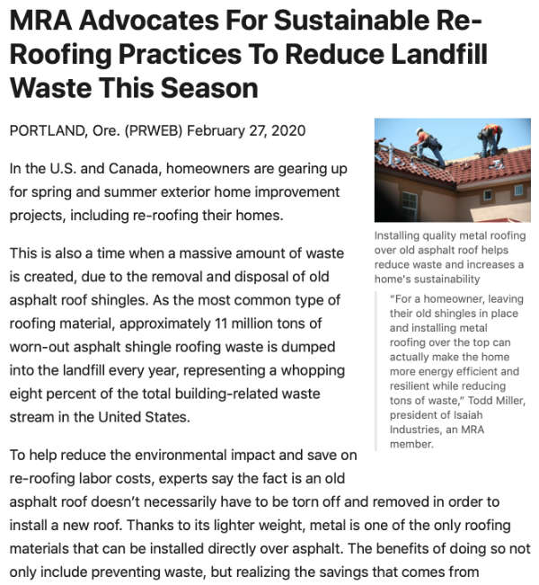 MRA Advocates For Sustainable Re-Roofing Practices To Reduce Landfill Waste This Season - PR Web