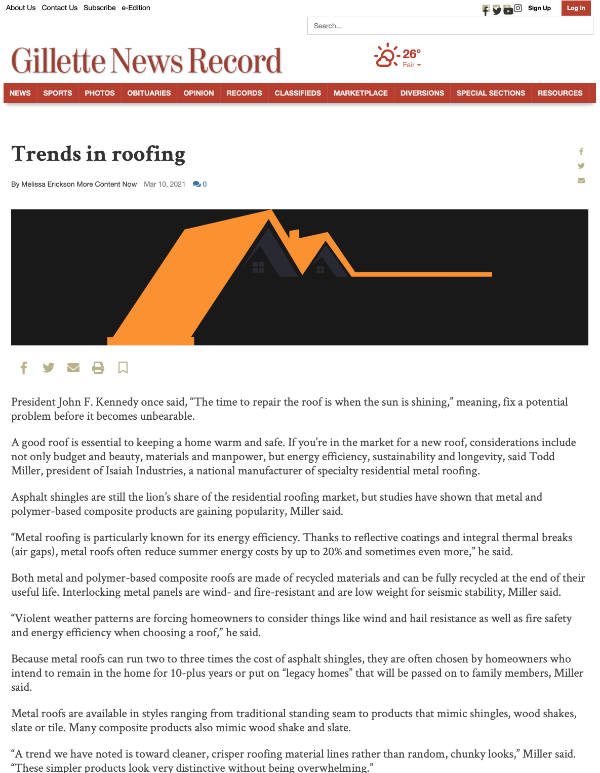 Trends In Roofing - Gillete News Record