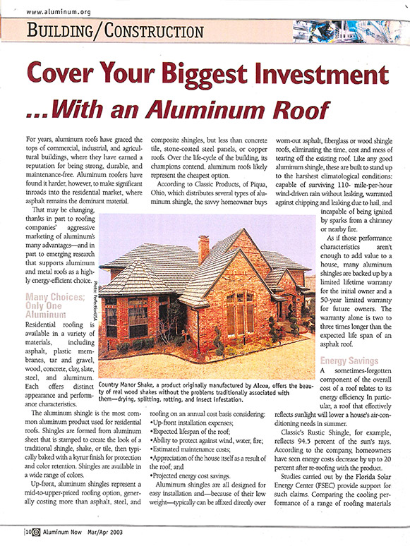 aluminum now magazine article - april 2003