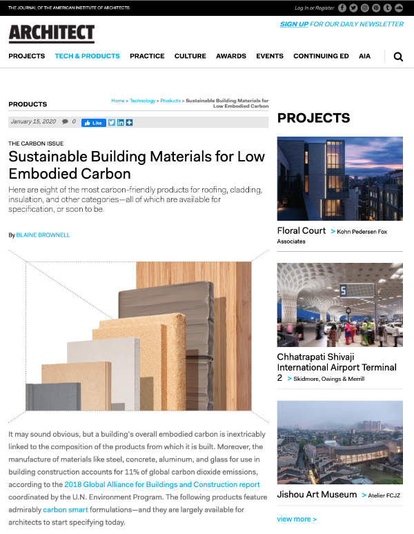 Sustainable Building Materials for Low Embodied Carbon - Architect Magazine