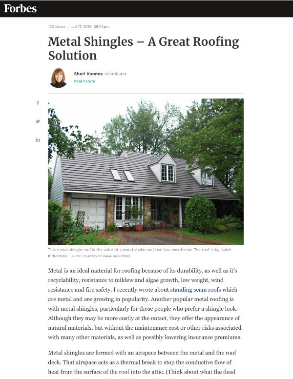 Forbes: Metal Shingles – A Great Roofing Solution