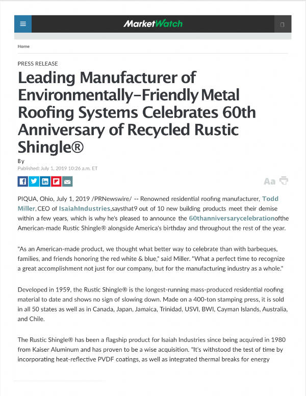 Leading Manufacturer of Environmentally-Friendly Metal Roofing Systems Celebrates 60th Anniversary of Recycled Rustic Shingle