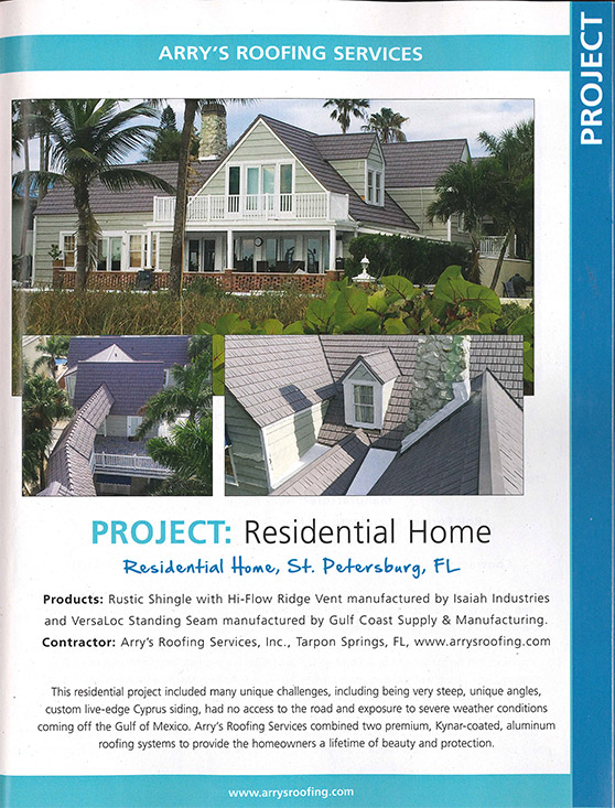 Arrys Roofing Services Project | Metal Roofing Magazine Article - May 2018