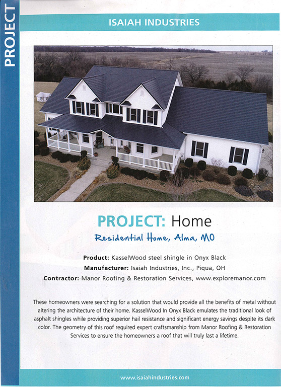 Manor Roofing & Restoration Project | Metal Roofing Magazine Article - May 2018