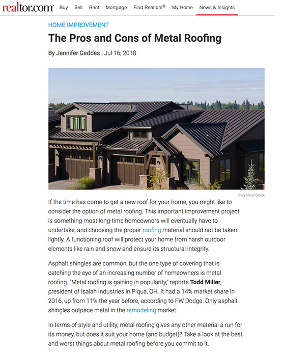 The Pros and Cons of Metal Roofing | Realtor.com - July 2018