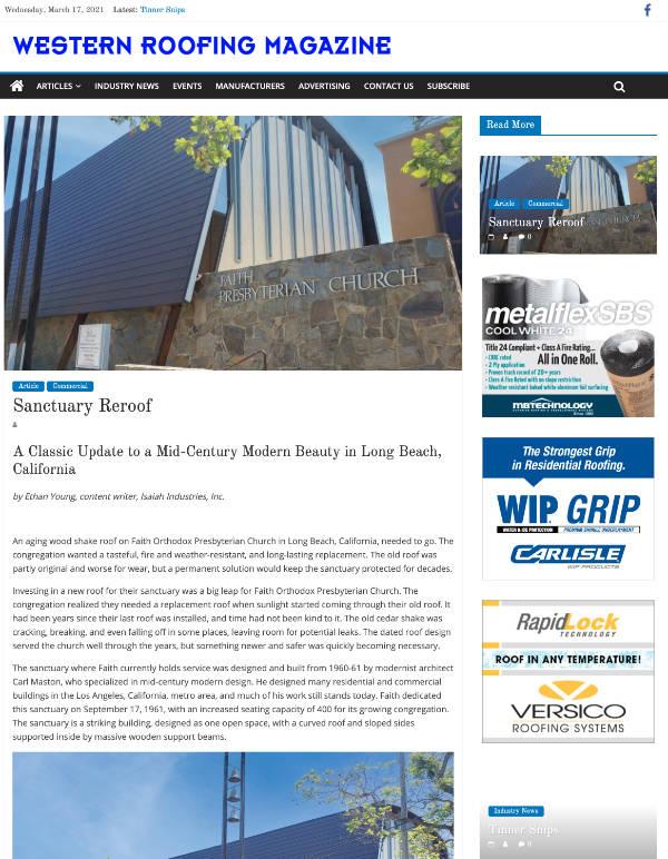 Sanctuary Reroof - Western Roofing Magazine