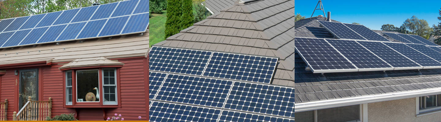 Solar panels on a metal roof