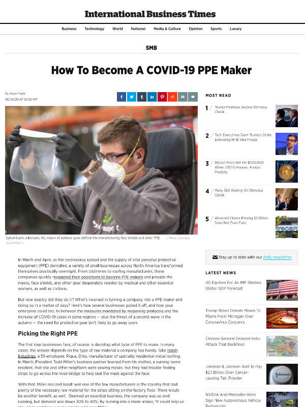 How To Become A COVID-19 PPE Maker - ibtimes.com