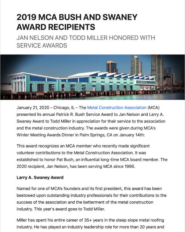 2019 MCA Bush and Swaney Award Recipients | metalconstruction.org - Jan 2020'
