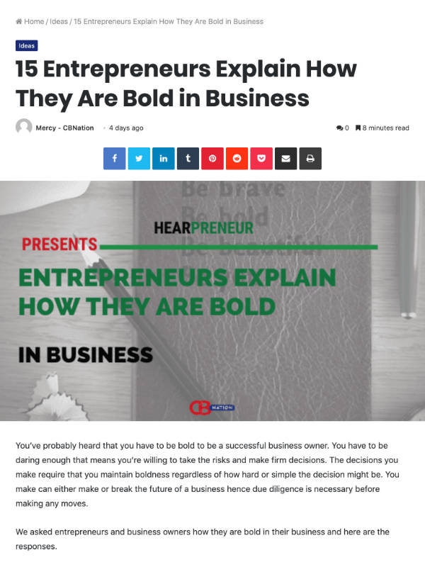 Entrepreneurs Explain How They Are Bold in Business | ceoblognation.com'