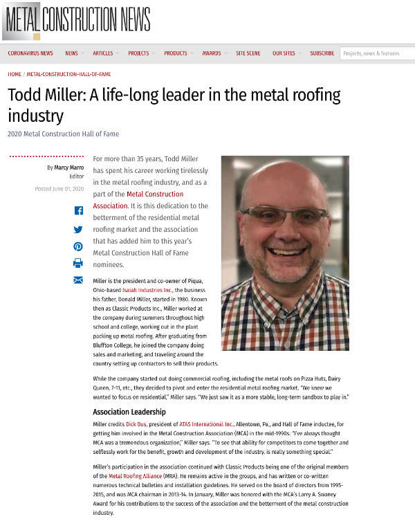 Todd Miller: A life-long leader in the metal roofing industry - metalconstructionnews.com