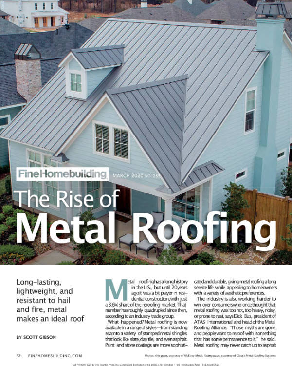 The Rise of Metal Roofing | FineHomeBuilding.com - February/March 2020'
