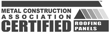 "Premium Certified"" logo from the Metal Construction Association"