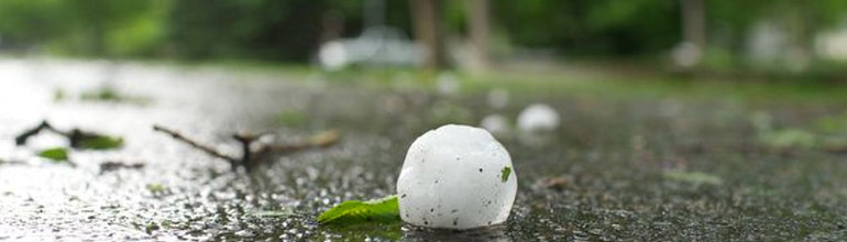 up close image of hail