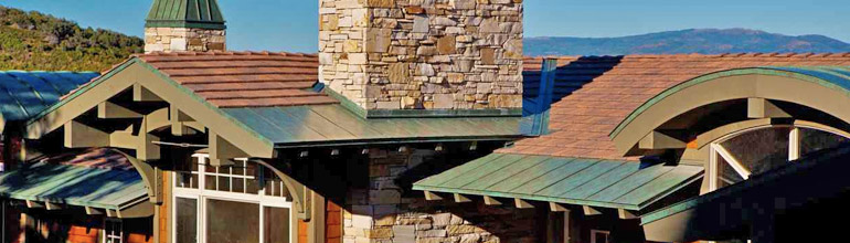 steel shingles with standing seam accents